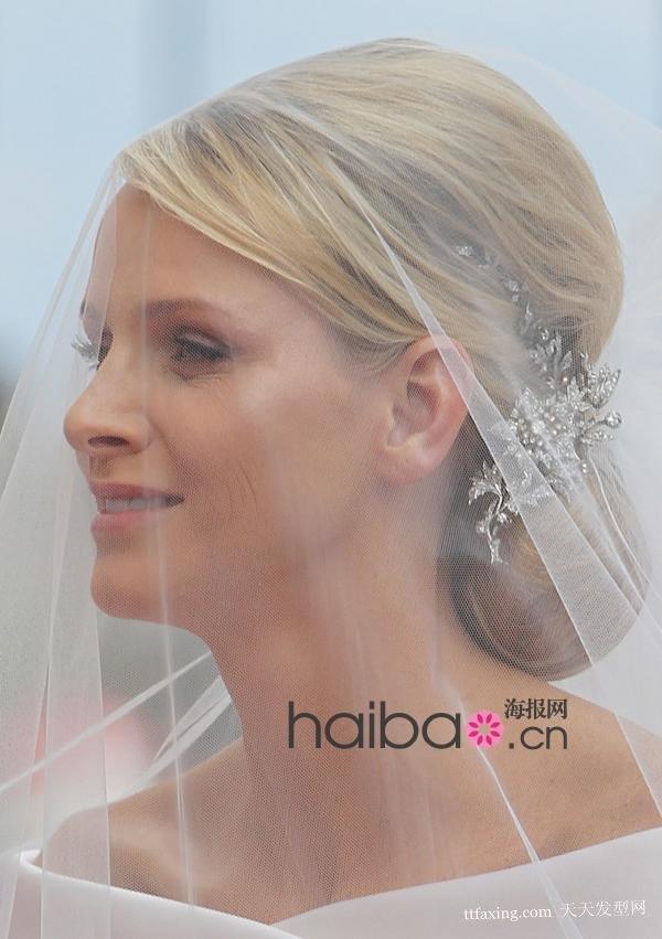 摩纳哥王妃般清丽优雅的新娘盘发发型