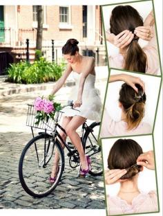 简单三步就搞定的时尚新娘盘发发型图片
