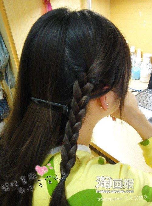 夏日侧花苞 韩式长发花苞头扎法