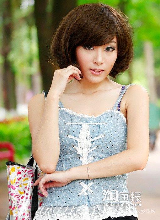 非主流斜刘海发型~粉嫩桃花 最新的盘发图解