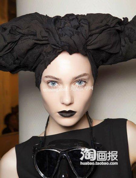 丝巾早春发型~散发神秘气质 丝巾扎头发