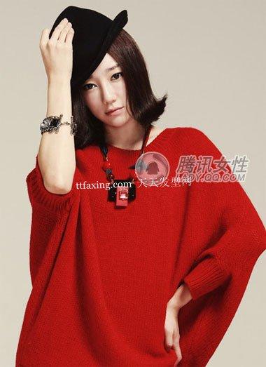最萌红衣发型~黑白配很经典