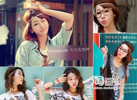 用韩式花样发饰做气质女人 2012年方脸流行发型