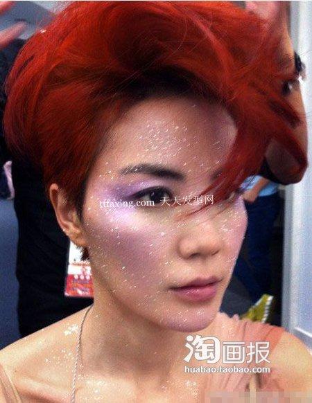 王菲红头短发 短发怎么扎图片~魅力无限