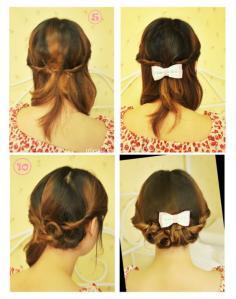 一拧就成的夏季长发盘发发型 中长发发型扎法