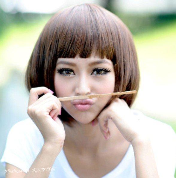 短波波头图片:蘑菇头女生惹人爱!