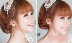 短发盘发发型图片 打造公主式的可爱气质