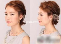 少女风韩式短发编发教程图解 做好看的发型