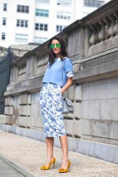 蓝色着装搭配图片 夏日凉爽造型来袭