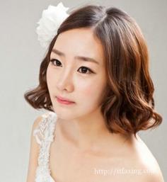 韩式短发新娘发型 让新娘变身唯美小女人