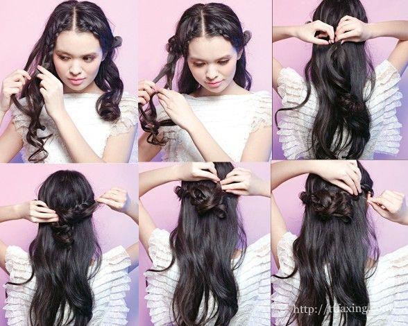 图解简单新娘发型步骤 不盘发的王妃发型图片