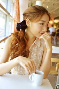 韩式无刘海马尾扎法淑女甜美,百搭发型约会逛街通通适合