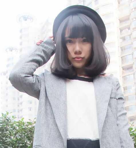 梨花内扣发型头短发图片_流行发型-天天学生齐刘海头发的扎法图片