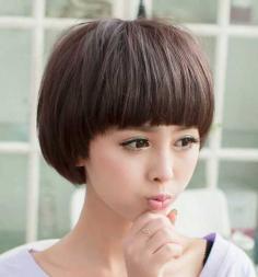 可爱甜美的蘑菇头女生假发发型图片