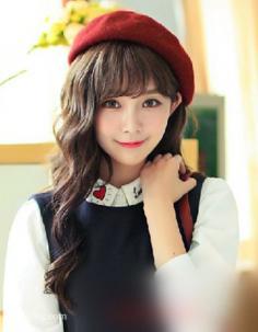 减龄瘦脸首选韩式齐刘海长卷发发型
