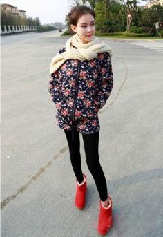 棉衣棉服打打底裤 时尚女装显瘦穿法