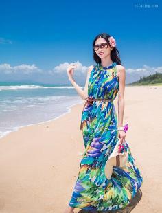 唯美波西米亚风格长裙图片 让度假风来刮起来