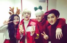 """EXO变身""""圣诞老爷爷"""" 萌系麋鹿妆玩转圣诞趴"""