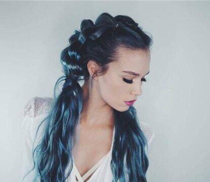 蓝紫色头发发色效果图 摇身一变气质淑女