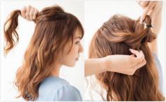 """韩式""""凌乱美""""公主头发型简单扎法"""