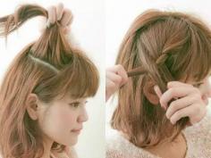 可爱小俏皮中短发韩式发型扎法