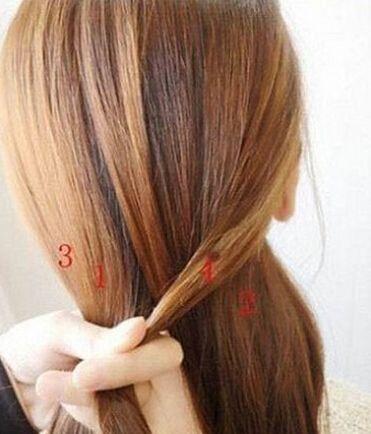 韩式瘦脸四股辫的编法图解