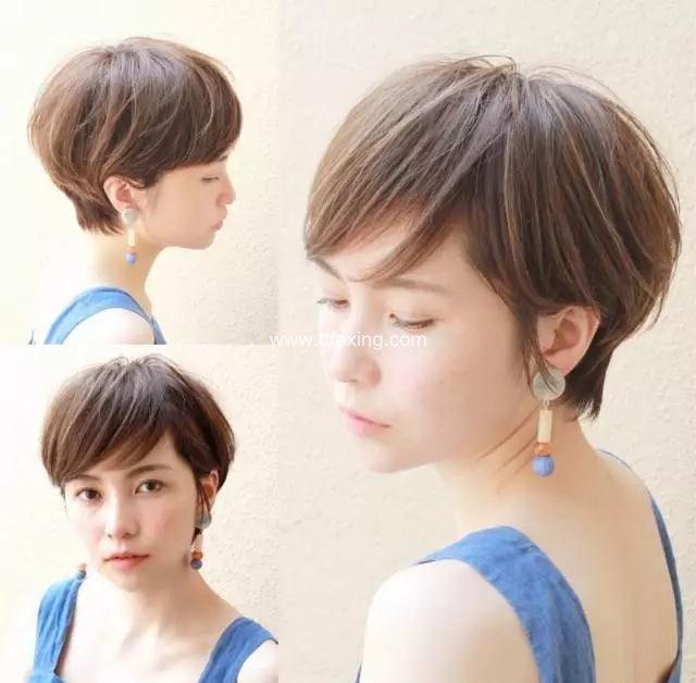 清爽的有刘海露耳短发发型 让你知性更显气质