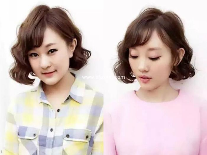 俏皮精致的泡面头短发发型 ttfaxing.com