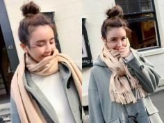 适合冬天的丸子头扎发,保持完美造型首选